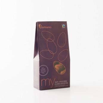 Paquet d'amandes enrobées au chocolat noir damiano