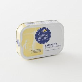 boite de sardines à l'huile de colza bio 115g de la Compagnie Bretonne