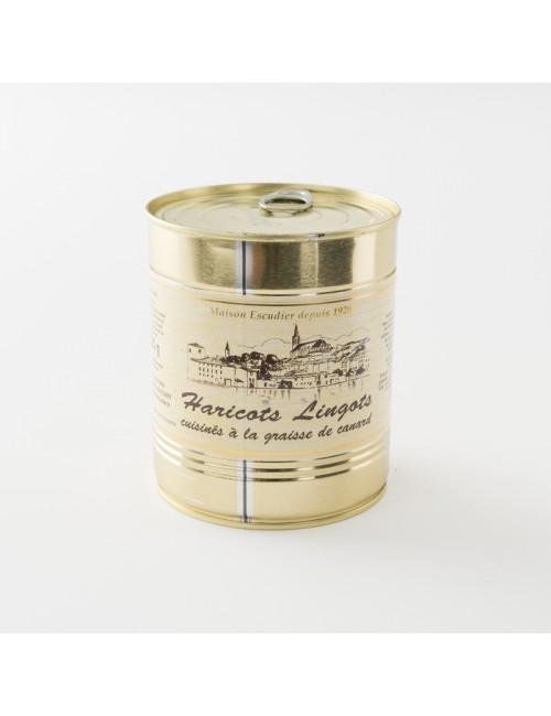 Haricots lingots cuisinés à la graisse de canard de chez Escudier en boite de 820 g
