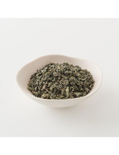 Intérieur d'un paquet de thé vert gunpowder de 200g