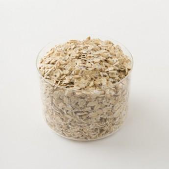 Intérieur d'un paquet de flocons d'avoine bio.