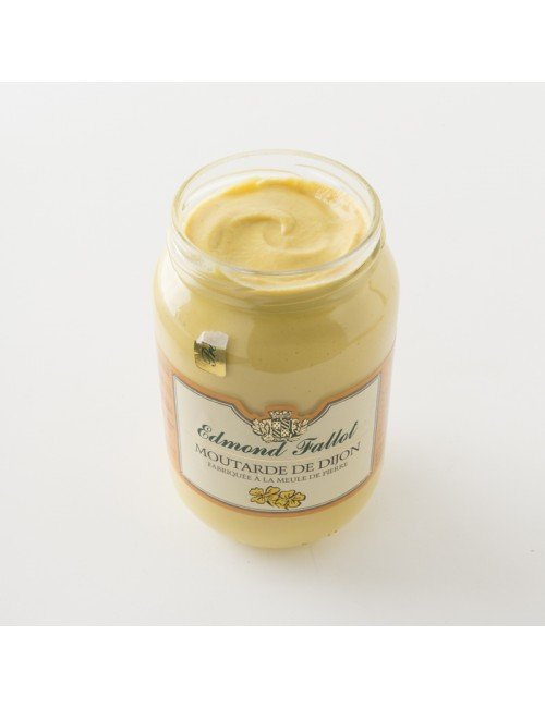 Intérieur du pot de moutarde de Dijon