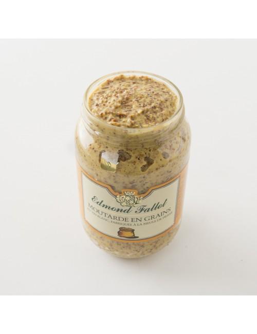 Intérieur du pot de moutarde en grains